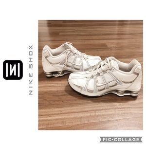 White and silver Nike Shox